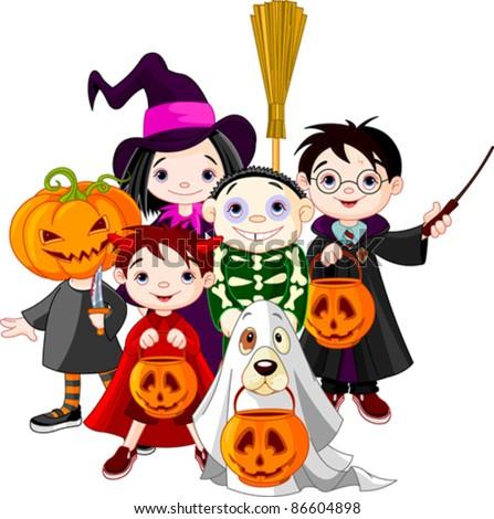 Halloween   children trick or treating in Halloween costume - stock vector