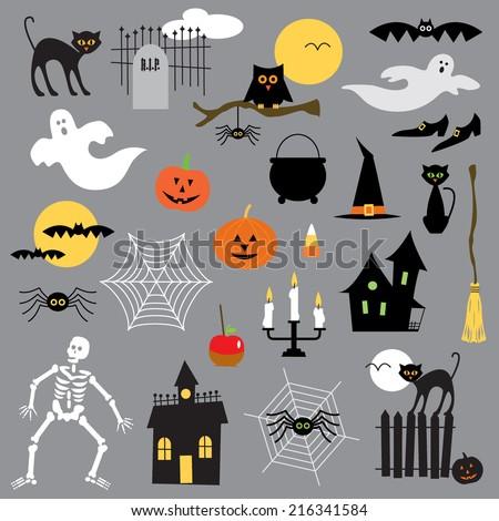 halloween clip art - stock vector