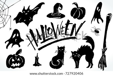 Halloween Clipart Set Hand Drawn Pictures Stock-Vektorgrafik ...