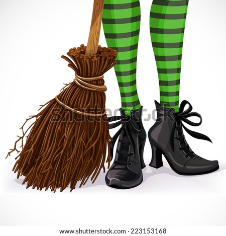 Halloween closeup witch legs in boots and with broomstick isolated on a white background - stock vector