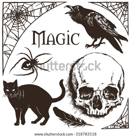 Halloween cobweb frame, black widow spider, black cat, raven and skull vector illustration - stock vector