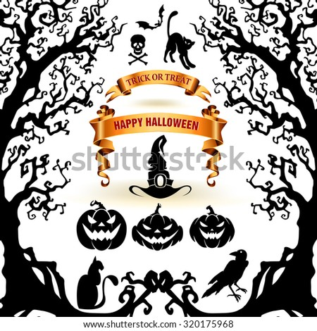 Halloween collection of design elements.  Scary objects and banners. - stock vector