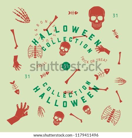 Halloween Collection Skulls Bones Stock Vector Royalty Free