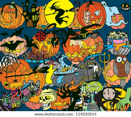 Halloween Colorful Background (hand drawn vector) - stock vector