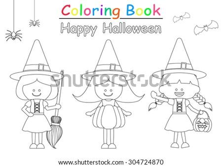 Halloween Coloring Book Stock Vector 304724861 Shutterstock