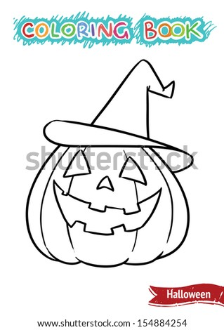Halloween coloring book. Pumpkin in the hat. Album format