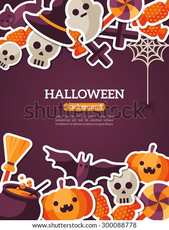 Halloween Concept Banner With Flat Icon Set on Dark Violet Backdrop. Vector Flat Illustration. Halloween Signs and Symbols. Trick or Treat. - stock vector