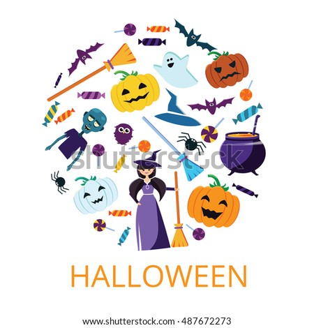 Halloween Concept Banner with Icons Stickers on Backdrop. Vector Flat Illustration. Template for your design. Design Card or Invite. Poster. Place for your text. Elements in round