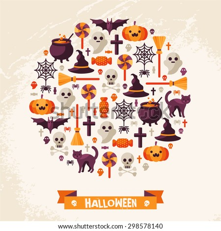 Halloween Concept. Flat Icons Arrange in the Circle. Vector Illustration. Halloween Symbols. Happy Halloween card with Ribbon. - stock vector