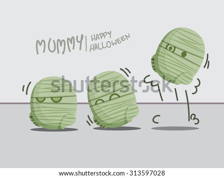 Halloween concept with funny mummies - stock vector
