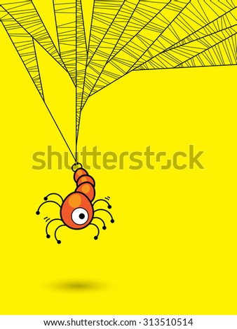 Halloween concept with one eye spider and his web on yellow background - stock vector
