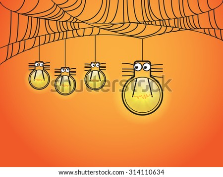 Halloween concept with one eye spider in light bulb style - stock vector