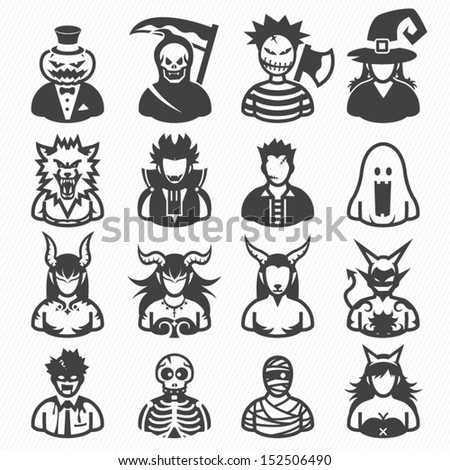 Halloween costumes Icons with White Background - stock vector