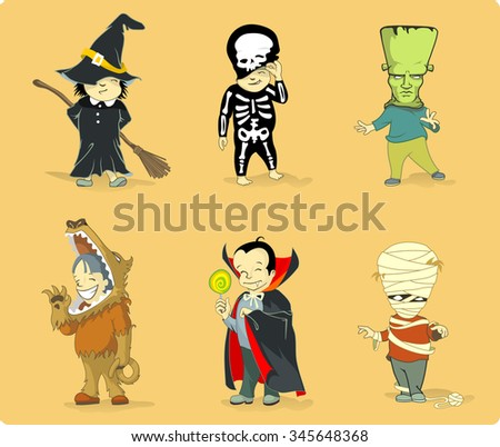 Halloween Costumes Set-Vector illustration of children on their spooky costumes - stock vector
