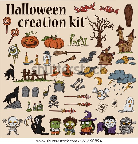 Halloween Creation Kit - Monsters, Pumpkins, Houses, Ghosts, Cats, Bats, Brooms, Tombstones, Candy and many other vector elements - stock vector