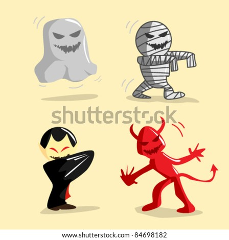 Halloween creatures illustration vector - stock vector