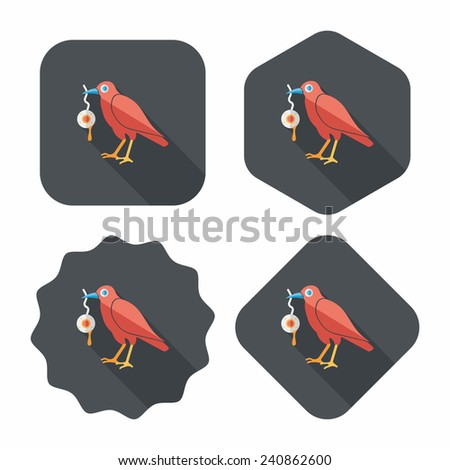 Halloween crow and eyeball flat icon with long shadow, eps10 - stock vector