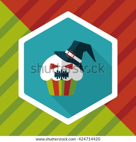 Halloween cupcakes with ghost flat icon with long shadow,eps10 - stock vector