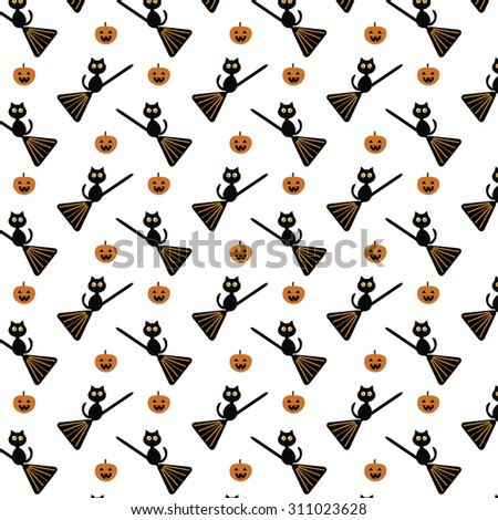 Halloween cute black cats with pumpkin, broomstick, white background pattern - stock vector