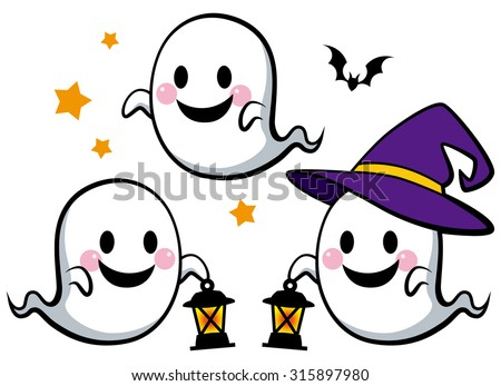 Halloween / Cute ghosts with lantern / color