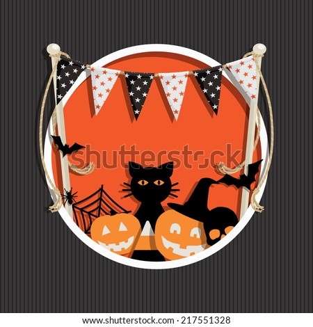 halloween decoration with bunting and ornaments, with transparencies - stock vector
