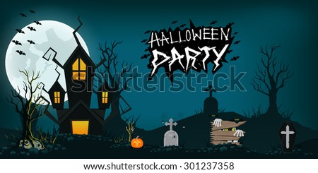 Halloween design background element, haunted house, graveyard, pumpkins, bats and full moon, vector illustration - stock vector