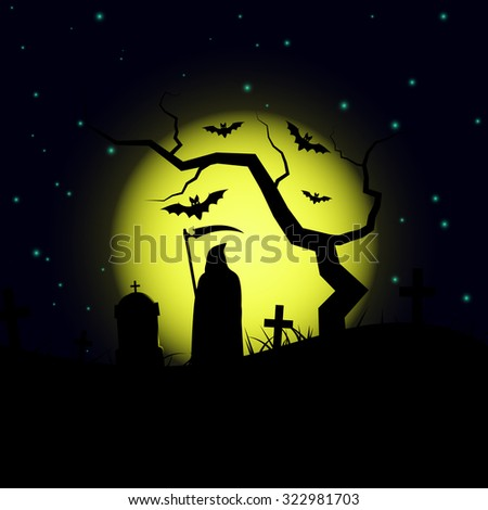 Halloween design background with spooky graveyard, naked tree, graves,bats and grim reaper silhouette.