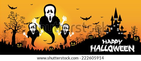Halloween design background with spooky graveyard, naked trees, graves and bats and Copyspace  - stock vector