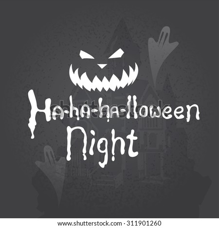 Halloween design elements. Hand drawn lettering on chalkboard - stock vector