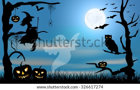 Halloween  design -ghost, witch, pumpkins, owl, spider and bats on dark grange blue and big moon background - stock vector