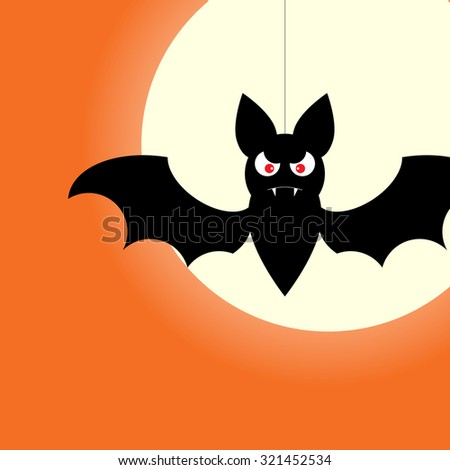 Halloween design template with bat, moon and place for text. Vector EPS10 - stock vector