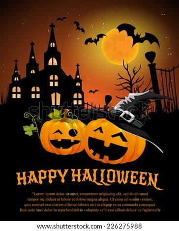 Halloween Design template, with pumpkin - stock vector