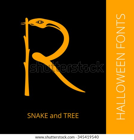 Halloween design vector font letter R consist of snake and tree. Spooky and Magical Alphabet - stock vector