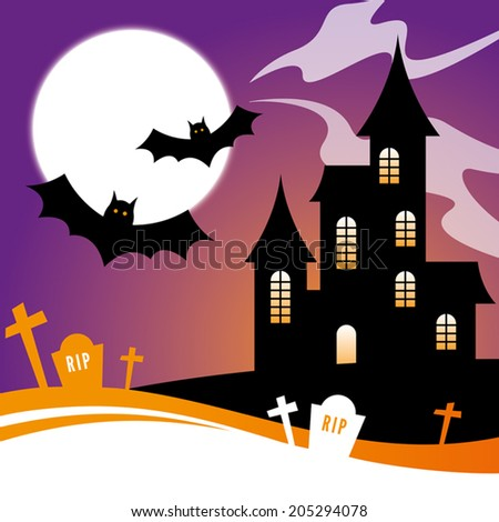Halloween Design with a haunted house and bats - stock vector