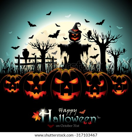 Halloween Design with Pumpkins and Scarecrow in front of Full Moon