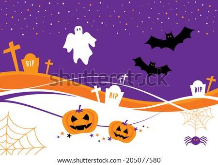 Halloween Design with Pumpkins, bats, tombstones and a ghost  - stock vector