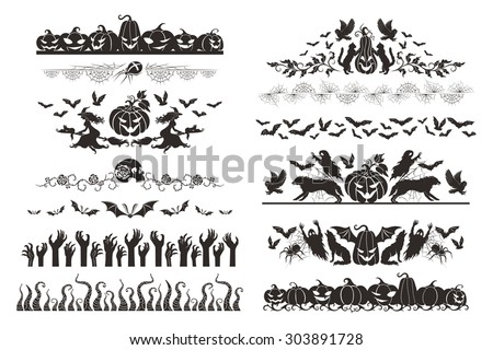 Halloween dividers collection. Horizontal borders with halloween objects and characters. - stock vector