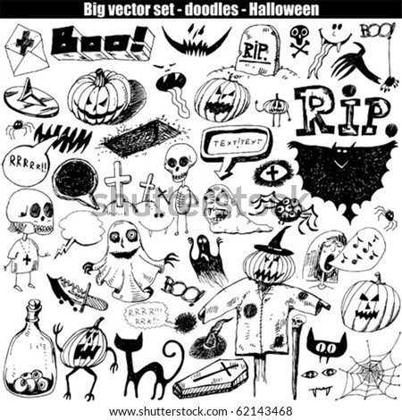 Halloween doodle set elements - stock vector