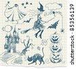 Halloween doodles, hand drawn - stock vector