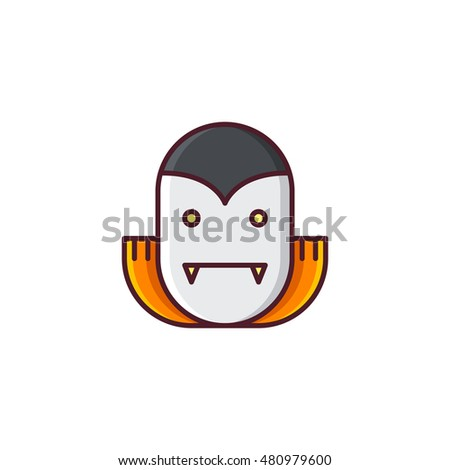 Halloween Dracula. Vector icon made in modern line style. Colorful illustration isolated on white background