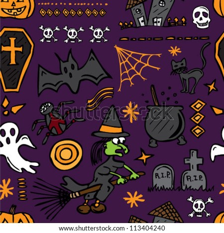 Halloween drawn icons seamless background - stock vector