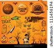 Halloween elements collection vector illustration design set - stock photo