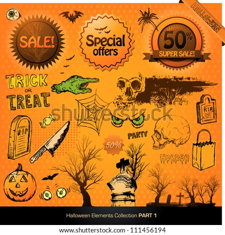 Halloween elements collection vector illustration design set