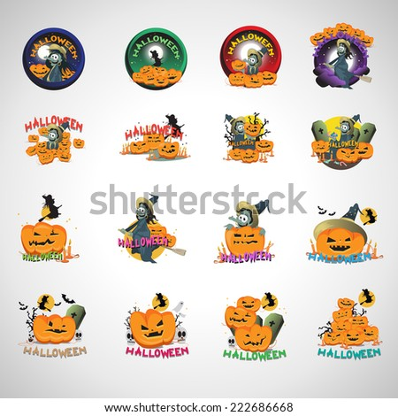 Halloween Elements Set - Isolated On Gray Background - Vector Illustration, Graphic Design Editable For Your Design