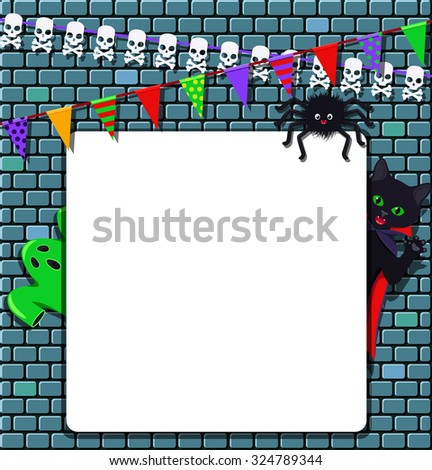 Halloween elements with empty banner - stock vector
