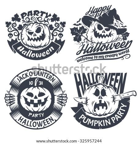 Halloween emblem set. Original logo with pumpkins - jack-o'-lantern. - stock vector