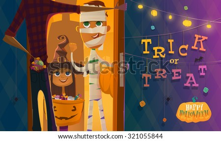 Halloween evening time. Trick or treat - stock vector