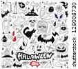 Halloween , evil , monsters - doodles set - stock vector
