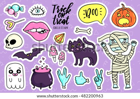 Halloween fashion quirky kawaii cartoon doodle patch badges with cute ghosts and pumpkins. Vector illustration. Set of stickers, pins, patches in cartoon comic style of 80s-90s. Vector collection