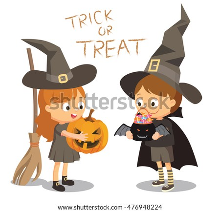 Halloween festival vector cartoon illustration, trick or treat, costumed boy and girl on a white background. They play witches with pointy hats, pumpkin, broom and the cloak.
